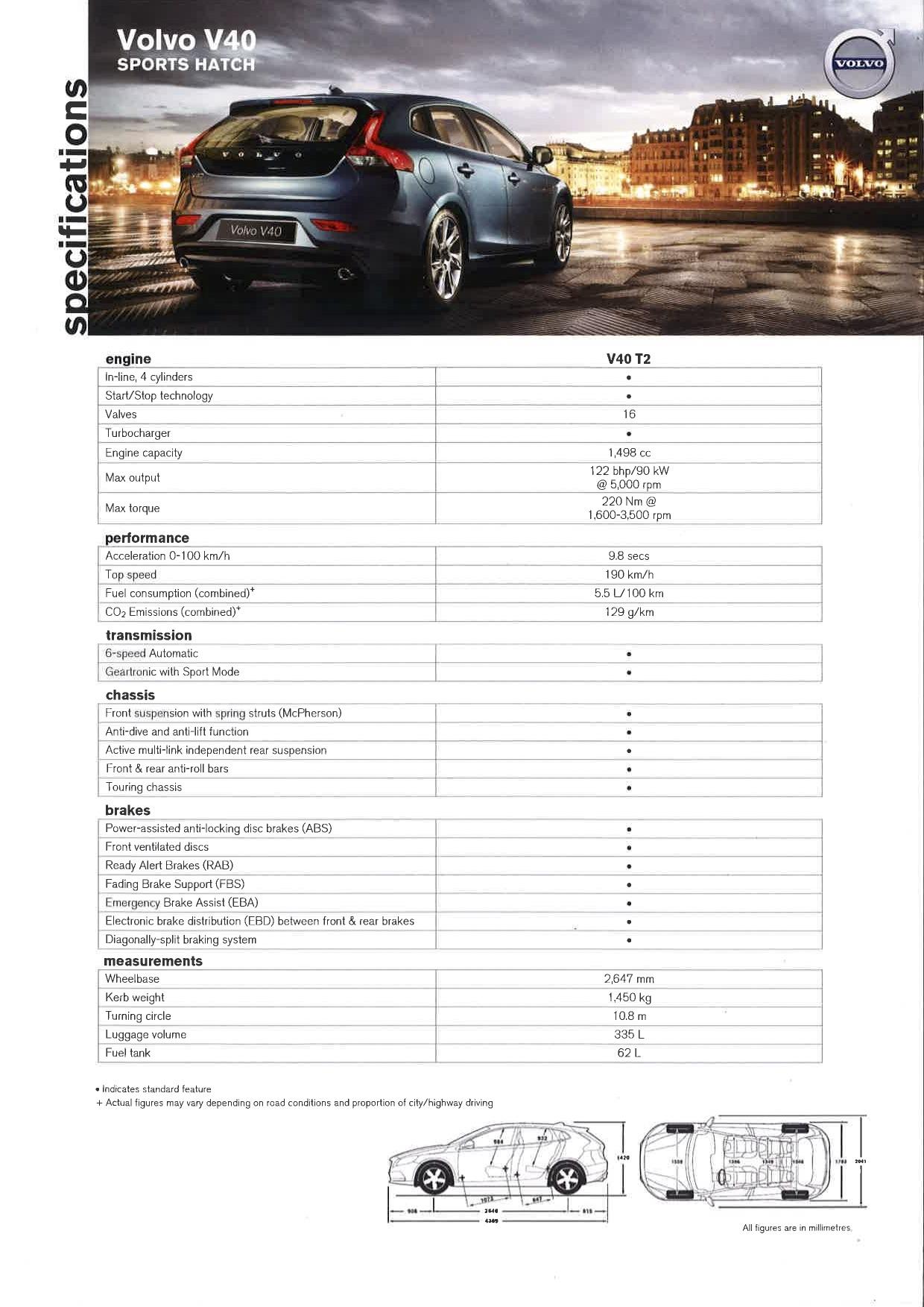 V40 T2 Spec Sheet